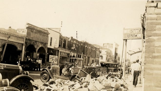 A West Palm Beach street following the Sept. 16, 1928, hurricane, which struck 92 years ago this week.