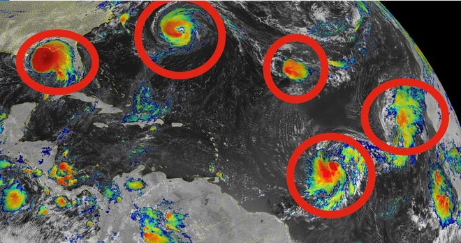From left, Tropical Storm Sally, Hurricane Paulette, Tropical Depression Rene, Tropical Storm Teddy, Tropical Storm Vicky.