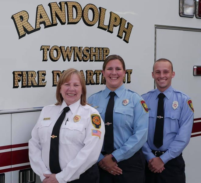 Randolph Township Fire Department assistant chief Diane Bunker, firefighter Felica Toth, and new hire Clinton Bunker.