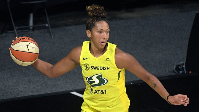 Springfield High alum Mercedes Russell will wait to see who her No. 2-seed Seattle Storm play following Tuesday's first-round games. (AP Photo/Phelan M. Ebenhack)