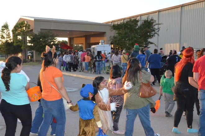 Trick-or-Treaters head for the Heart of Oklahoma Exposition Center Convention Center during its first Halloweentown event last year.