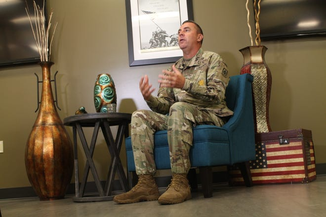 Sgt. Maj. Patrick McGrath talks to reporters Monday Sept. 14, 2020, at the Fort Bragg Soldier and Family Readiness Group Center about his personal experiences for Suicide Awareness Month and support he received from the Army.