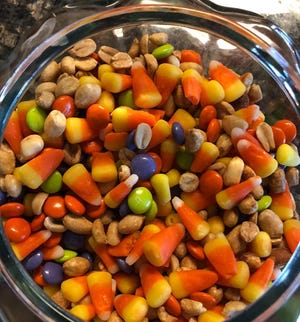 'The Recipe' combines candy corn, peanuts and M&Ms for a tasty fall treat.