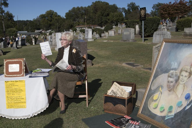 """Millie Stevens tells of the things Nan Callan started in Gadsden at the 10th Annual """"A Walk Through Time"""" held at the Forrest Cemetery in a file photo from October 21, 2018."""