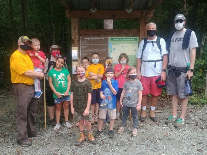 The Scouts of Cub Scout Pack 9 had a great time hikingthe trail at Shallow Ford in Burlington.They wore their masks and kept the CDC social distance. The Pack went 2.95 miles in some drizzling rain. Scouts saw a toad and a box turtle.Hiking gives Scouts the opportunity to see nature upfront and close by.