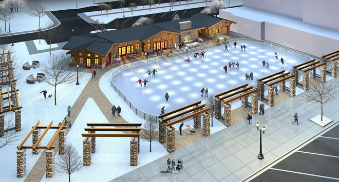 The Plaza at Gateway Park ice rink, show here in a rendering by Gries Architectural Group, would be located along Wisconsin Avenue in downtown Neenah.