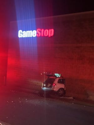 A car crashed into GameStop in Emmett Township Sunday.