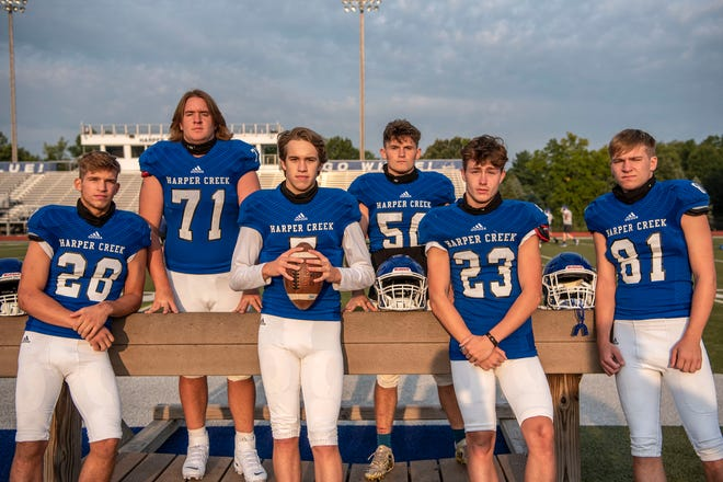 From left: Easton Kolassa, Brendan Wendt, Blake Gloar, Bryce Jones, Merritt Wilson, Bobby Webb stand for a picture on Saturday, Sept. 12, 2020 at Harper Creek High School in Battle Creek, Mich.