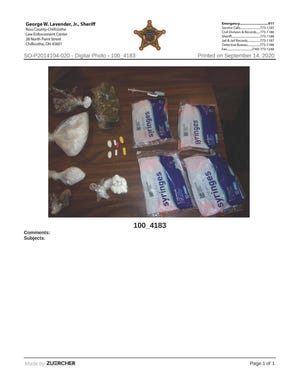 Suspected drugs seized by the Ross County Sheriff's Office the morning of Sept. 14.