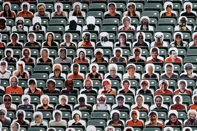 Cincinnati Bengals fan cardboard cutouts are featured in the stands above the north end zone in the third quarter during a Week 1 NFL football game against the Los Angeles Chargers, Sunday, Sept. 13, 2020, at Paul Brown Stadium in Cincinnati. The Cincinnati Bengals lost 16-13.