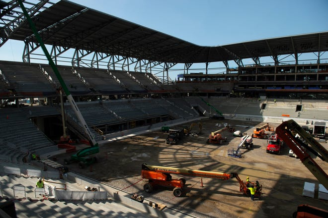 Construction continues at FC Cincinnati's new West End Stadium in West End Monday, Sept. 14, 2020. When finished, the stadium will be able to hold 26,000 fans