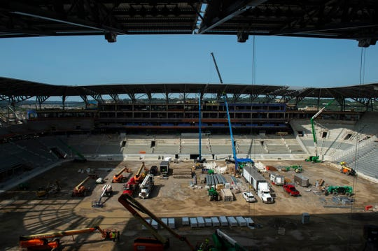 Construction continues at FC Cincinnati's new West End Stadium in West End Monday, Sept. 14, 2020. The new stadium features a 360-degree canopy which covers every seat in the stadium.