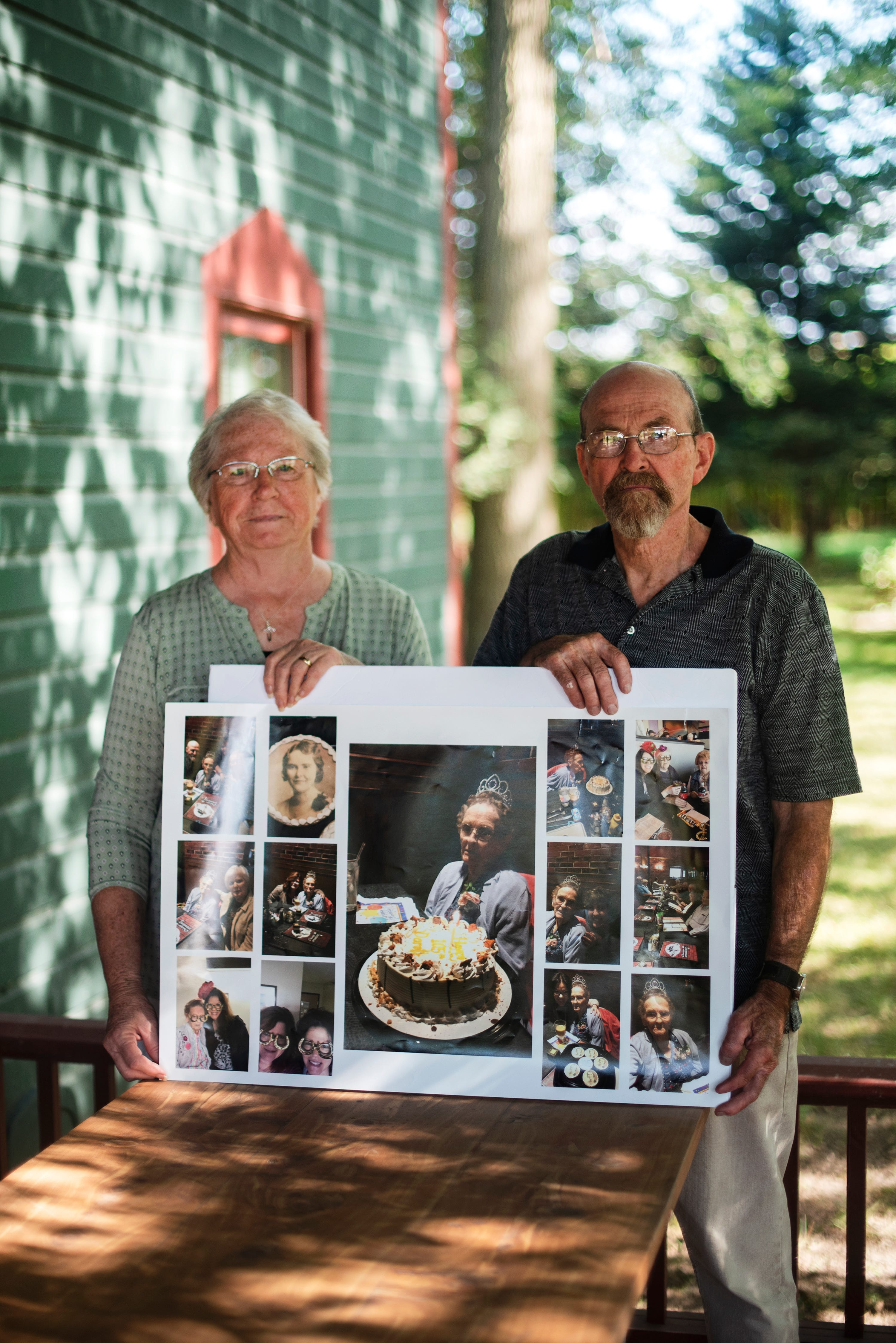 """Dorothy """"Dot"""" Thompson, 105, died on April 29, 2020 from complications of COVID-19. Dot's cousin, Ron McBroom, and his wife, Ginnie Hargis (pictured) remember Dot's fame as a humble pie-baker, with lemon meringue as her specialty."""