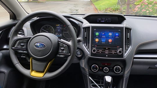 The 2021 Subaru Crosstrek Sport dashboard with optional 8.0-inch touch screen.