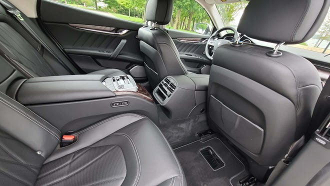 The rear seats of the 2020 Maserati Quattroporte S Q4 are a nice place to be with climate and seat controls. They can recline, and the front passenger seat can be controlled by the person sitting behind it.