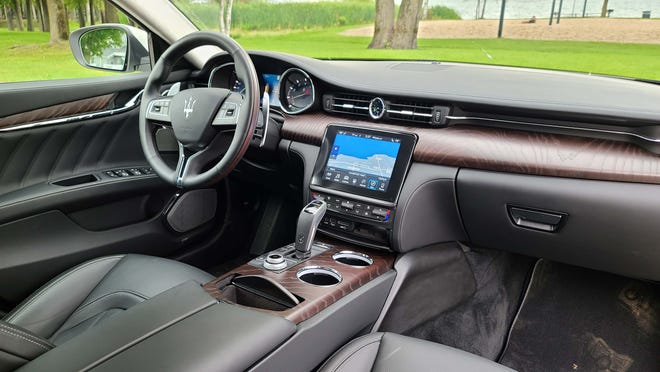 The interior of the 2020 Maserati Quattroporte S Q4 shares console tech with Jeep products. The UConnect system is efficient — but lags luxury competitors in glamour.