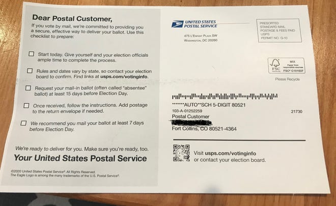 Information sent by the U.S. Postal Service on how to vote by mail contains incorrect information in terms of Colorado's voting system.