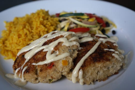 A plate of house-made crab cakes from Buckingham Farms.