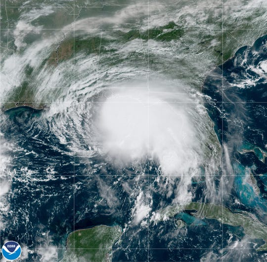 Tropical Storm Sally churns in the Gulf of Mexico  Sept. 14.