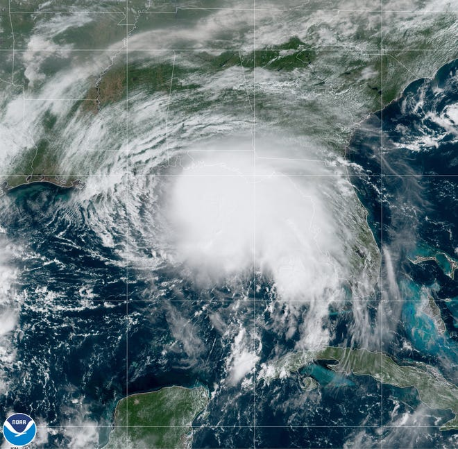 Hurricane Sally churns in the Gulf of Mexico Sept. 14.