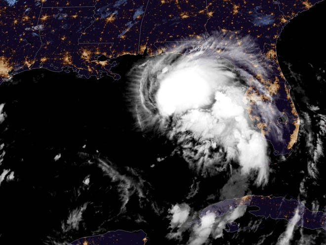 Tropical Storm Sally in the Gulf of Mexico as of Monday, Sept. 14, 2020.