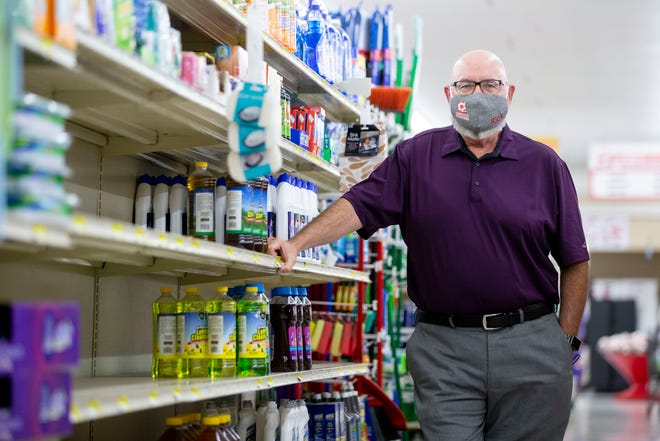 Rick James, owner and CEO of Cash Saver, says some cleaning supplies are still hard to keep in stock. Photographed Monday, Sept. 14, 2020, at Cash Saver in Memphis.