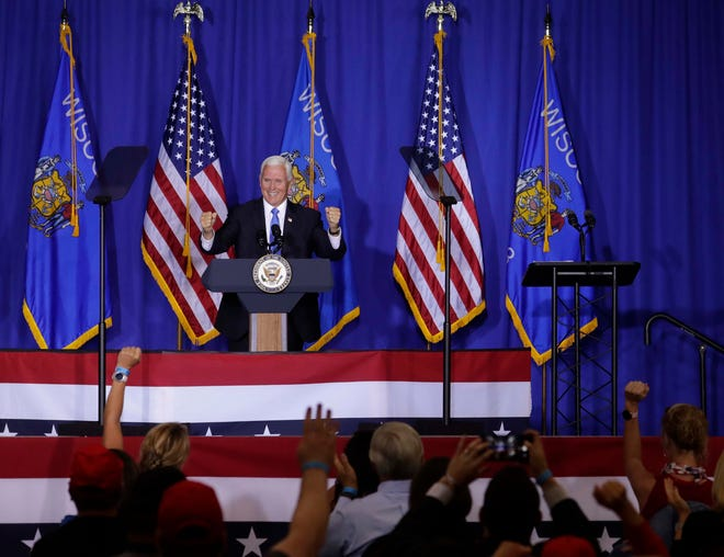 Vice President Mike Pence speaks to supporters during a Make America Great Again rally on Monday, Sept. 14, 2020, in Janesville, Wisconsin. He is touring the Midwest touting the accomplishments of the Trump administration.