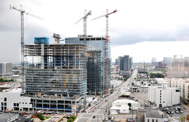 Broadwest is a new 1.2 million-square-foot, urban mixed-use community combining Class AA office space, high-end condominiums, a luxury hotel and retail space.When completed in 2021, Broadwest will include a 21-story office tower with 510,000 square feet of Class AA space. A second 34-story tower will include 196 high-end condominiums anchored by a 237-room luxury Conrad Nashville hotel in Nashville, Tenn. Monday, Aug. 31, 2020.