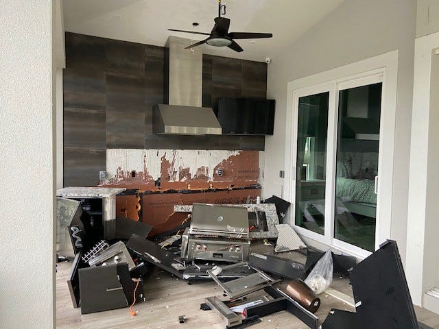 A gas grill explosion sent one Bonita Springs resident to the hospital Sunday.