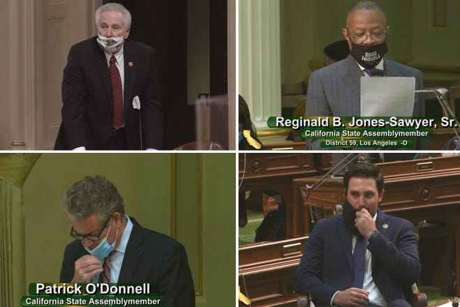 Clockwise from upper left: State Sen. Jim Nielsen, Assembly members Reginald B. Jones-Sawyer Sr., Patrick O'Donnell and Ian Calderon (California State Senate; California State Assembly)