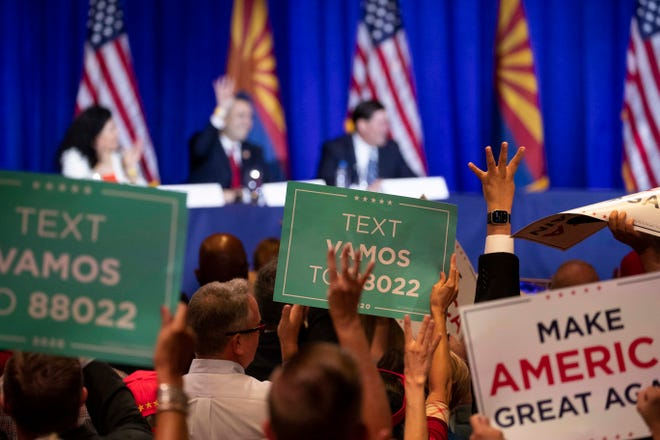 President Donald J. Trump speaks to his supporters at  Latinos for Trump Roundtable event at Arizona Grand Resort in Phoenix, AZ on Sept. 14, 2020.