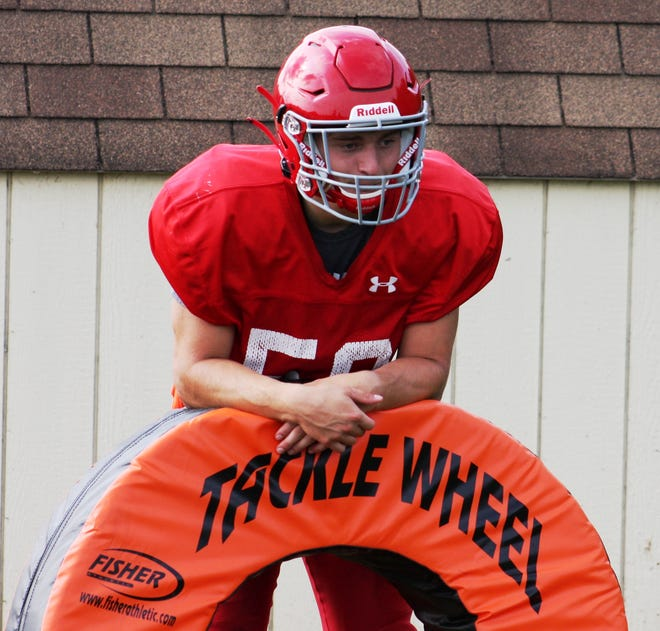 Annville-Cleona's lone returning starter on offense, Ethan Schriver, works with a tackle wheel during practice last week.