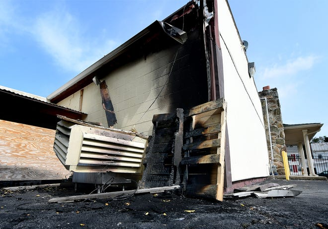 Damage is evident to the rear of First Majestic Restaurant, 220 Roosevelt Ave., Monday, Sept. 14, 2020, after a fire occurred there late Sunday night. The blaze started in the ceiling of the restaurant, according to York City Fire Chief Chad Deardorff. Bill Kalina photo