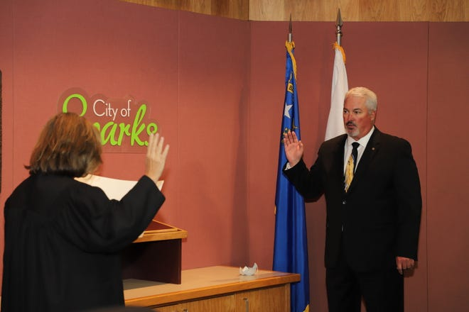 Ed Lawson was sworn in as Sparks mayor in a ceremony on Monday.