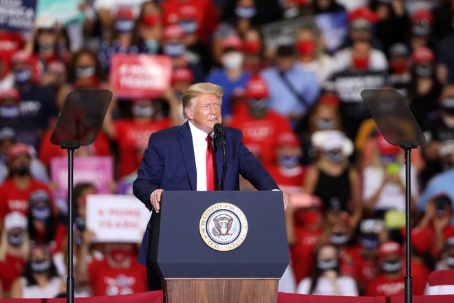 President Donald Trump speaks during a rally at Xtreme Manufacturing on Sunday, Sept. 13, 2020, in Henderson. (Ellen Schmidt/Las Vegas Review-Journal) @ellenkschmidttt