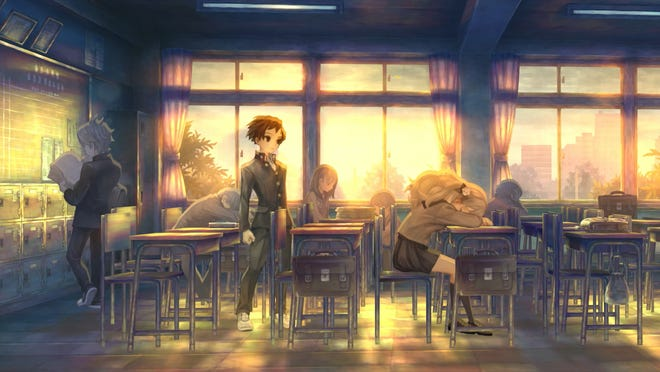 Juro Kurabe ponders inside his classroom in 13 Sentinels Aegis Rim for the PlayStation 4.