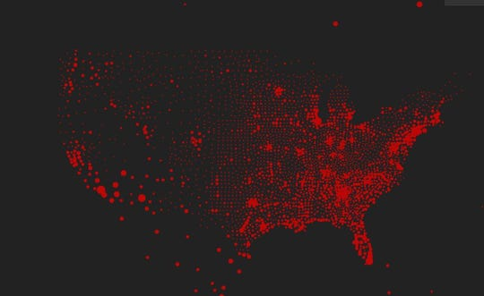 Johns Hopkins case map: Red dots document the worst areas of outbreak in the United States based on confirmed case numbers as of Monday, Sept. 14, 2020.