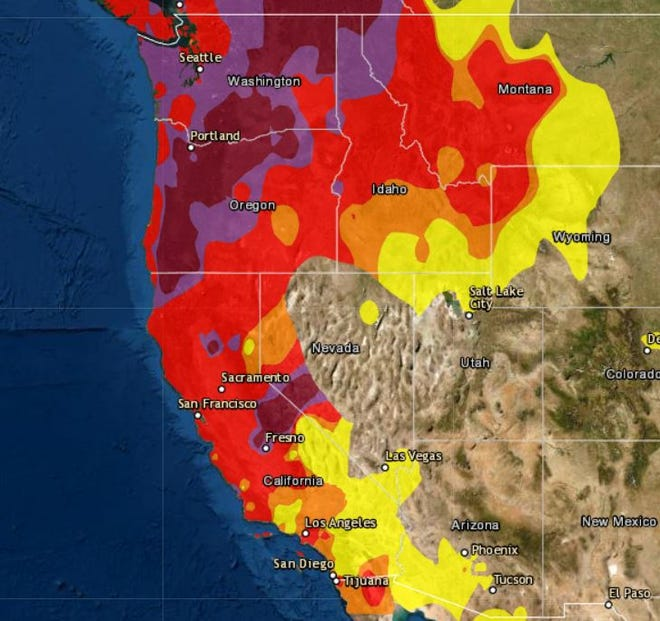 The EPA's AirNow air quality map shows unhealthy (red), to very unhealthy (purple), to hazardous (maroon) pollution levels in the Western United States. Air pollution in Redding dropped from very unhealthy to unhealthy levels around 10:30 a.m. Monday.