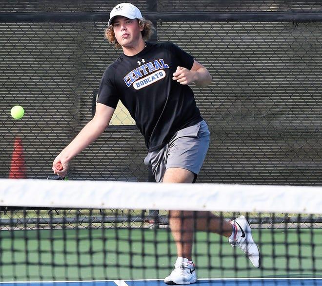 San Angelo Central High School's Cameron Coker hits a forehand during a tennis tournament earlier this season.
