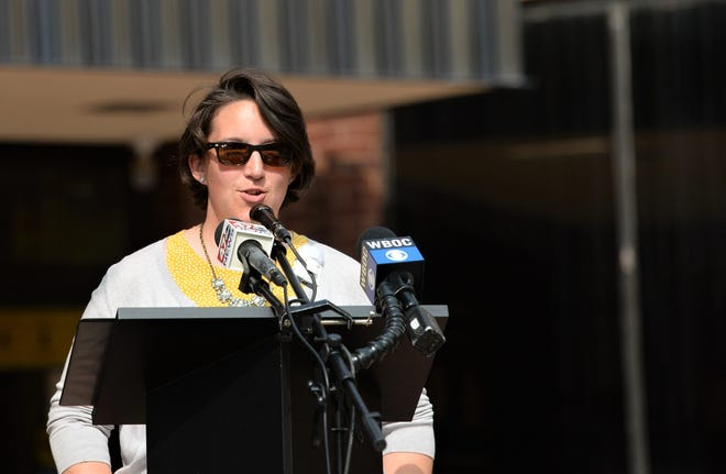 Salisbury city administrator and acting mayor Julia Glanz speaks to members of the media on Monday, Sept. 14, 2020 on the front steps of the Government Office Building.