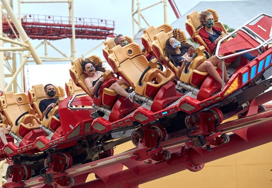 Guests at Universal Orlando's theme parks must wear masks while aboard roller coasters such as Hollywood Rip Ride Rockit.