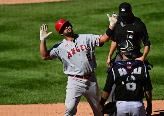 Albert Pujols hit his 660th career home run on Sunday, putting him in a tie with Willie Mays for fifth on the all-time list.