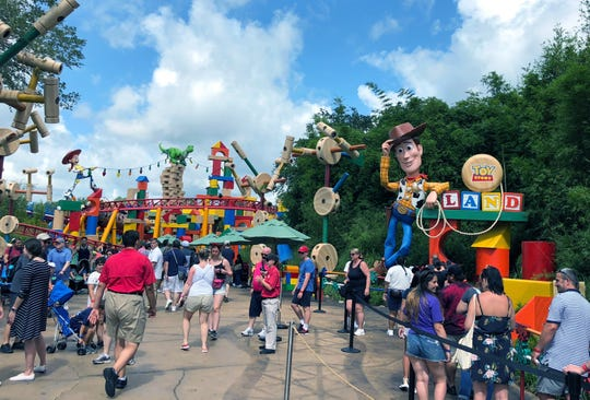 In 2018, Disney World visitors did not have to contend with masks or social distancing when they visited Toy Story Land. (Arthur Levine)