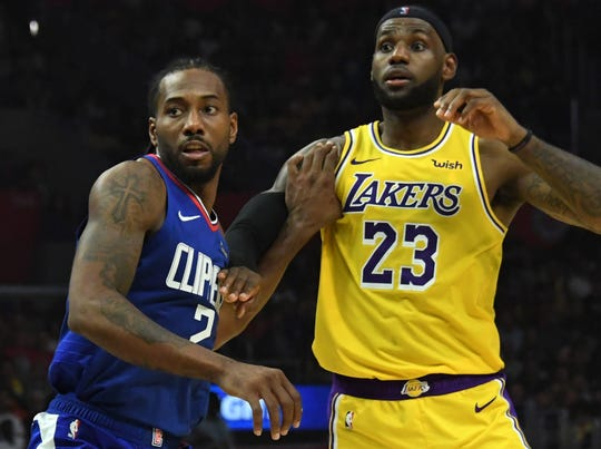Kawhi Leonard and the Clippers split four games with LeBron James and the Lakers during the regular season.