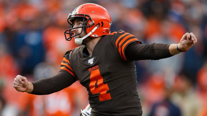 Cleveland Browns kicker Austin Seibert (4) against the Denver Broncos during the first half of NFL football game, Sunday, Nov. 3, 2019, in Denver. (AP Photo/David Zalubowski)