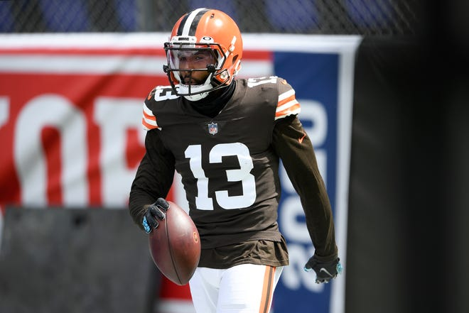 Browns wide receiver Odell Beckham Jr. warms up before last Sunday's game against the Baltimore Ravens in Maryland. [Nick Wass/The Associated Press]