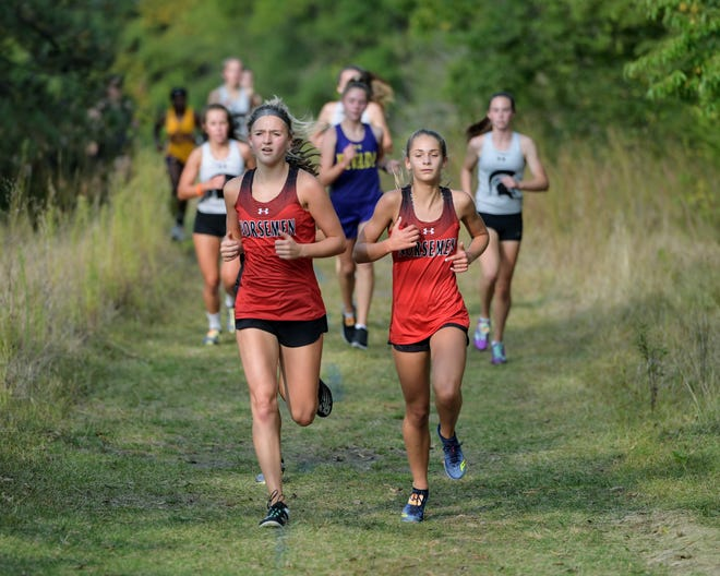 Reece Johnson (left) will try and lead Roland-Story to a top-five finish in the Class 2A girls' race at the state cross country meet Saturday in Fort Dodge. But the Norse are going to need freshman Elizabeth Ihle (right) healthy. Ihle, the team's regular second runner at meets, had a health issue pop up at 2A qualifying meet in Panora Friday and struggled to finish the race.