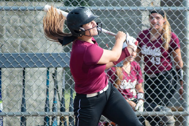 Beaver's Payton List hits a grand slam during a June 26 game in the summer Beaver County varsity softball league. List, a junior, has committed to Virginia Tech.