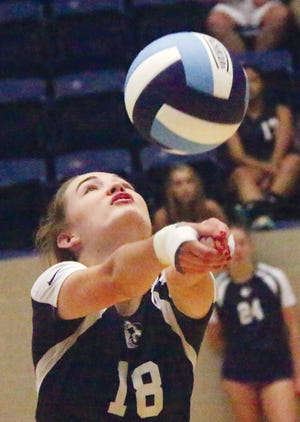 Megan Kirchner, shown during her volleyball playing days at Bartlesville High School, was one of two former BHS student-athletes to receive national scholar-athlete recognition last season for the Oklahoma Wesleyan University sports program.