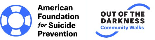 The American Foundation for Suicide Preventions and Out of the Darkness logos.